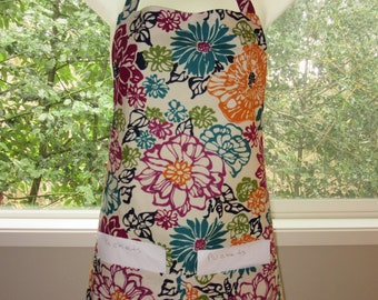 aprons for women - womens aprons - full aprons - bold jewel flowers
