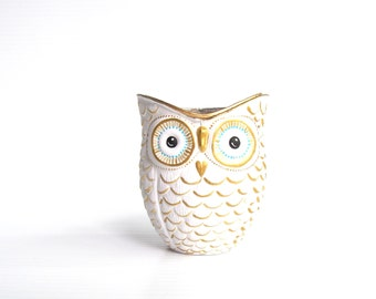 White and gold hand painted Owl shaped votive candle holder