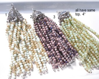 50% Off Antique Silver and Assorted Crystal Tassels Boho Chic, Long Jewelry Tassels, Turkish Jewelry TAS0127 J16