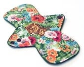 "9"" Reusable Cloth Menstrual pad - HEAVY flow -bamboo/cotton core - Windpro - quilter's cotton top in ""Jungle Cats"""