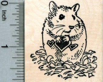 Valentines Day Hamster Rubber Stamp G31711 Wood Mounted