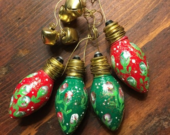 Set of 4 Hand-Painted Bulb Ornaments