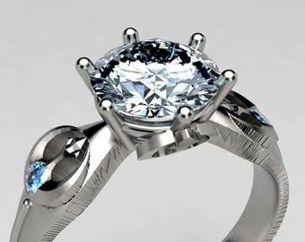 Rebel Star Wars Engagement Ring in Palladium or Gold, Forever One 1 Carat Moissanite and Blue Diamond Ring, Lightsaber Geek Wedding Ring