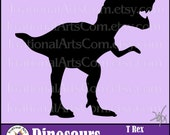 Dinosaur Silhouettes T Rex - 1 EPS & SVG Vinyl Ready Images and PNG files, plus a commercial license {Instant Download}