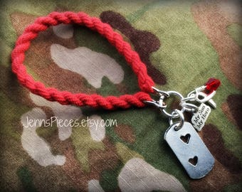 BRACELET Military Red Friday Combat boot band My Husband, Son, Dad or Brother My Hero 12 Charm Army Marines Air Force Navy National Guard