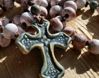Handmade ceramic clay bead Catholic rosary necklace-CUSTOM ORDER