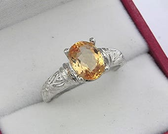 AAAA Imperial Topaz   9x7mm  2.07 Carats   in Antiqued Floral 14K white gold ring 0609