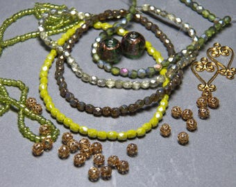 Mix of Assorted Vintage and New Beads to Play With - Green Tones OOAK  (YG)