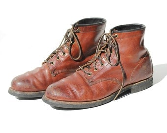 Vintage Men's FRYE Rust Brown Leather Ankle Boots / size 11