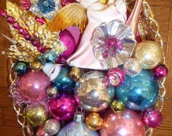 Gorgeous Repurposed Vintage Christmas Pink Blue Ceramic Angel Small Vanity Tray OOAK