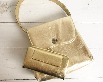 Vintage Gold Metallic Handbag and Wallet