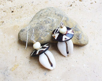 Cowrie Shell and Batik Bone Button Bead Earrings - Short Style - Lightweight - Beautiful