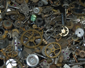 1 oz 28 grams Vintage Watch movements parts cogs gears Steampunk Z 76