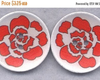 SALE Orange Flower Wood Buttons Wooden Buttons 40mm Rose (1 5/8 inch) Set of 4/BT523