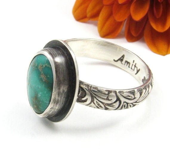 natural Turquoise Ring - sterling silver Carico Lake turquoise ring with patina - US size 6 1/2 - green turquoise ring - size 6.5 - stacker