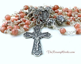 Pink Miraculous Medal Rosary Beads Sterling Silver Rhodochrosite Flowers Wire Wrapped Unbreakable Traditional 5 Decade Catholic