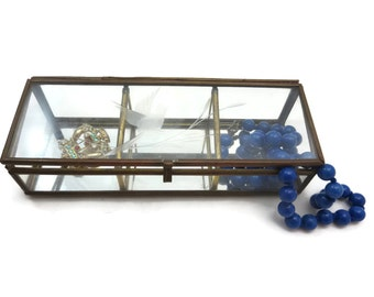 Clear Glass Box Display Case - Glass Curio Box, Three Section Jewelry Box, Etched Bird