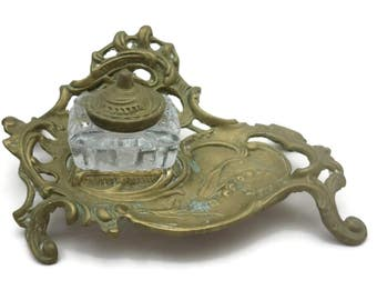 Brass Inkwell - Lily of the Valley, Victorian Revival, Glass Insert