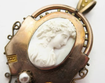 Bacchante Cameo Brooch Necklace Pendant - Carved Shell 1800s Setting