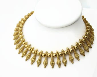 Trifari Necklace - Gold Tone Fringe - 1960s Mid Century Costume Jewelry
