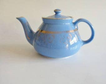 Vintage Hall China Teapot Blue with 24Kt Gold Trim Hall #029 6 Cup USA