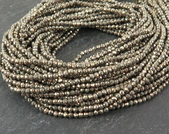 "AAA Pyrite Faceted Rondelles 2mm ~ 13"" Strand (CG9522)"