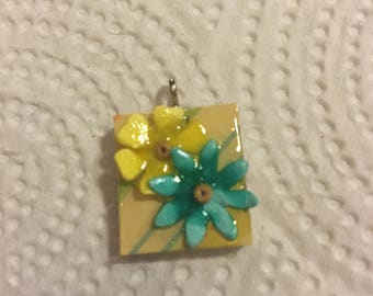 Scrabble Tile Pendant Necklace Yellow and Teal Flowers Party Favors Teacher Gift Birthday Gift
