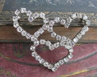 Vintage Rhinestone triple heart brooch large heart brooch