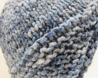 Winter Ear Flap Hat Knitted in Denim Blues
