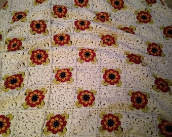 Crochet throw flower sofa blanket large unique ooak bespoke one of a kind ready to post
