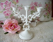 Shabby Romantic Chic Vintage Italy 3 Arm Candelabra Gorgeous Shabby Distressed French Chic