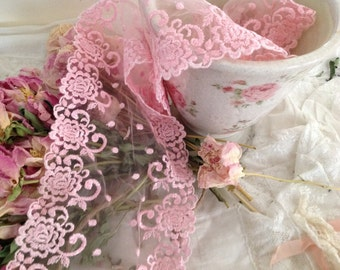 Vintage Scallop Netted Lace - Pink - Wedding Lace - BTY X   6 1/2 inches wide - Rose Pattern Floral Embroidered Pink Lace  -