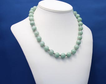Natural Burmese Jadeite Jade and Thai Hill Tribe Silver Necklace, Natural Imperial Jade Necklace, Natural Jade, 12th Anniversary, Genuine