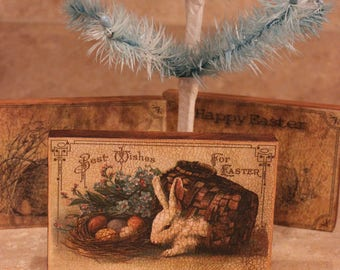 Wood Plaque Easter Bunny Rabbit Coming out of Basket