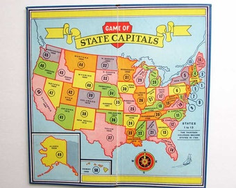 Vintage  Game Board, Message Board, Wall Decor, 1950's  Vintage Game of State Capitals,  Geography Wall Decor, Map Decor