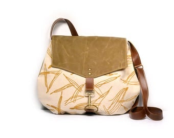 satchel • every day canvas crossbody bag • hand printed - mustard yellow - pine needles - neutral - waxed canvas - brown