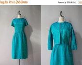STOREWIDE SALE 1960s Dress / 60s Green Brocade Cocktail Dress / Vintage Sixties Satin Dress and Matching Jacket