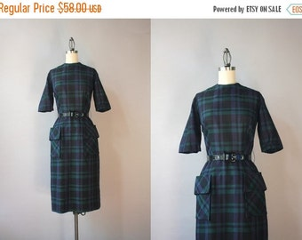 STOREWIDE SALE Vintage 1960s Dress / 60s Dark Plaid Fitted Dress / 1950s Pencil Skirt Patch Pocket Dress