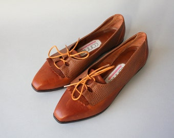 1990s Shoes / Vintage 80s 90s Oxford Fringe Flats / 1980s Connie Brown Leather Flats 6