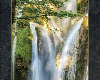 Waterfall Le Cascade Artworks Digital Quilting Treasures Fabric Panel