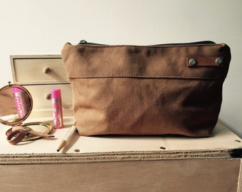 Cognac Brown Kelly Pouch, Zippered cosmetic pouch  ,Gift For Her,Travel Makeup Bag,Weddings,Toiletry Storage,Christmas Bridesmaids Gifts,