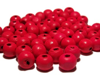 Coral color wooden beads Neon Coral 8mm Round 100 beads