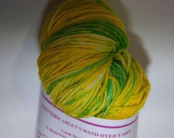 Hand-Dyed Yarn in Daffodils Sock Yarn Merino/Cashmere/Nylon Lush Base
