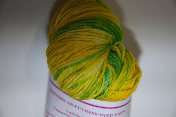 Hand-Dyed Yarn in Daffodils Sock Yarn Merino/Cashmere/Nylon Lush Base