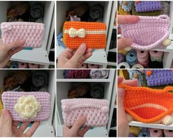 Cutie kawaii crochet credit card wallet pink orange bow pastel