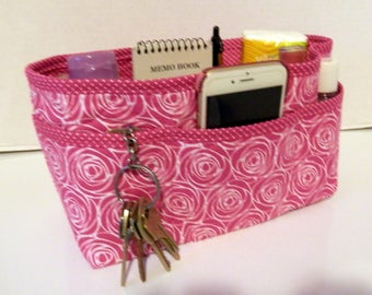 "Purse Organizer Insert/Enclosed Bottom  4"" Depth/ Pink and White"