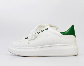 1990's White Green Leather Platforms Sneakers