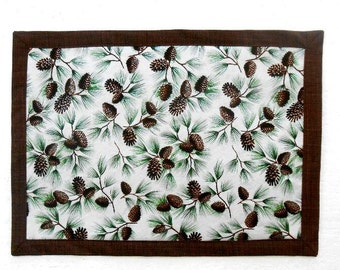 Winter Placemat, Reversible Brown Green White Pine Cones Cotton Placemat, Dinner Mat, Holiday Table Setting, Table Decor, Christmas Mat