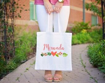Personalized Watercolor Tote Bag Beach Bag Bridesmaids Bag Brides Bag