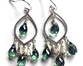 15% OFF sale, Thebes Chandeliers, Green Mystic Quartz Sterling Silver Teardrop Chandelier earrings, Gemstone earrings